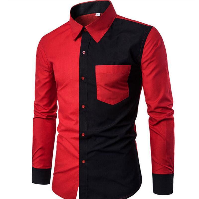 Alta Quality2019 Outono Inverno New Cotton Men Shirt Moda Preto Vermelho Patchwork magros ocasionais de manga comprida Y200104 camisa camisa masculina
