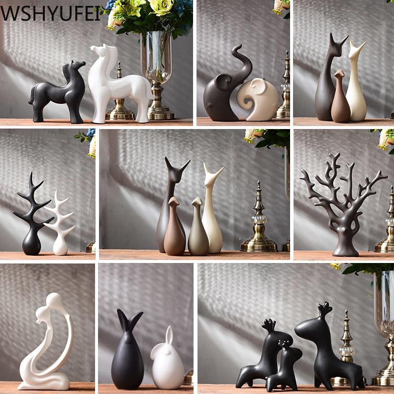 Moderna simple de cerámica Figurillas Salón ornamento decoración del equipamiento casero Crafts Coffee Oficina del regalo de boda Accesorios