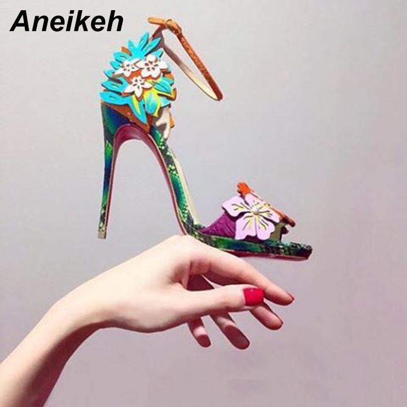 Aneikeh Yüksek Topuk Sandalet 2019 Yaz Seksi Burnu açık Ince Topuklu bayan Ayakkabıları Yüksek Kalite Pu Çiçek Renk Moda Bayanlar Y19070303 Pompalar