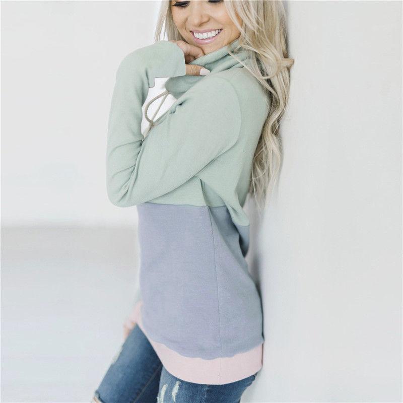 2018 mujeres del invierno Casual algodón de manga larga color del remiendo Sudaderas Cuello alto Mujer mujeres camiseta 5 del color S-XL