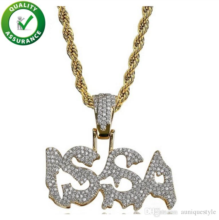 Hip Hop Jewelry Designer Necklace Mens Gold Chain Pendants Iced Out Micro Pave CZ ISSA Pendant Simulated Diamond Luxury Wedding Accessories