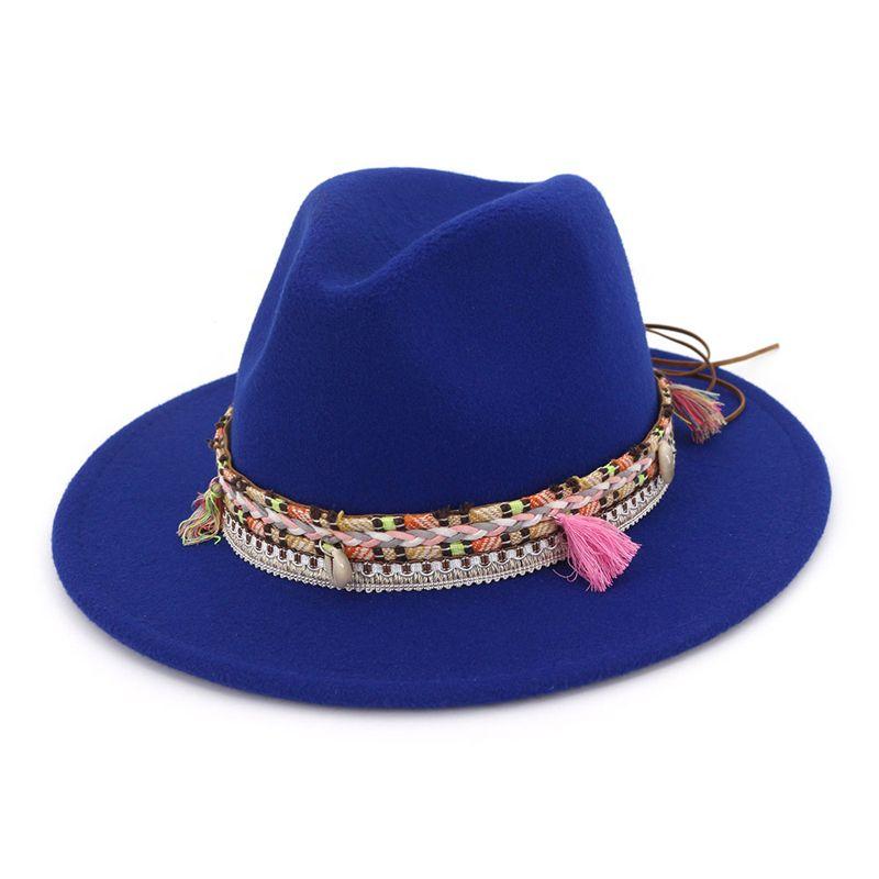 패션 유니섹스 와이드 브림 양모 민족 꼰 리본 재즈 모자와 Fedora 모자를 느꼈다 레트로 파나마 스타일 공식 모자 trilby