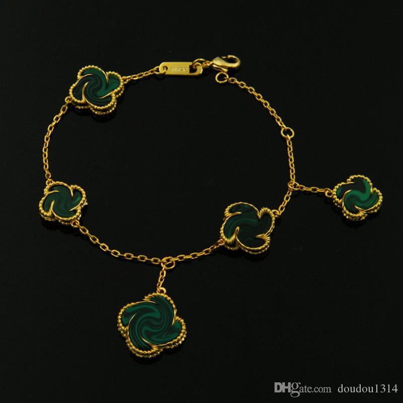 18k chapado en oro amarillo blanco ágata madreperla piedra natural cinco flores pulseras para mujer nueva llegada joyería de moda de lujo