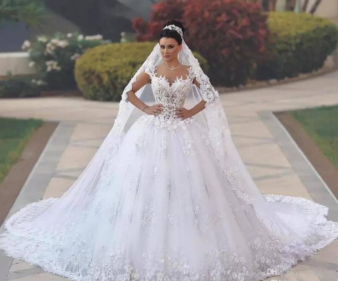 2019 princesa de lujo playa vestido de bola vestidos de novia Vestido de Renda de Renda 3D Applique de encaje floral Boho Boho Boho Broho Broho Arbric