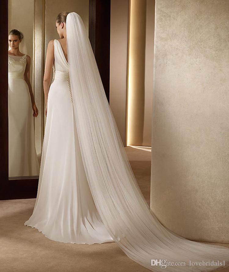 En stock Deux couches White Ivoire bon marché voile de mariage de mariée 3mbridal voiles avec peigne long Veil de mariage en tulle simple