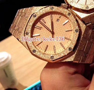 3 cores Excelente relógios de Pulso N8 fábrica Royal Oak 42mm 15454OR.GG.1259OR.03 15450 Automático Transparente Mecânica Mens Watch Relógios