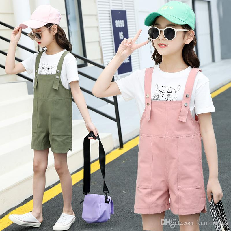 Girls Summer Clothes Set Fashion Teen Kids T-Shirts And Straps Pants Two-Piece Suit Pink/Green For Girl