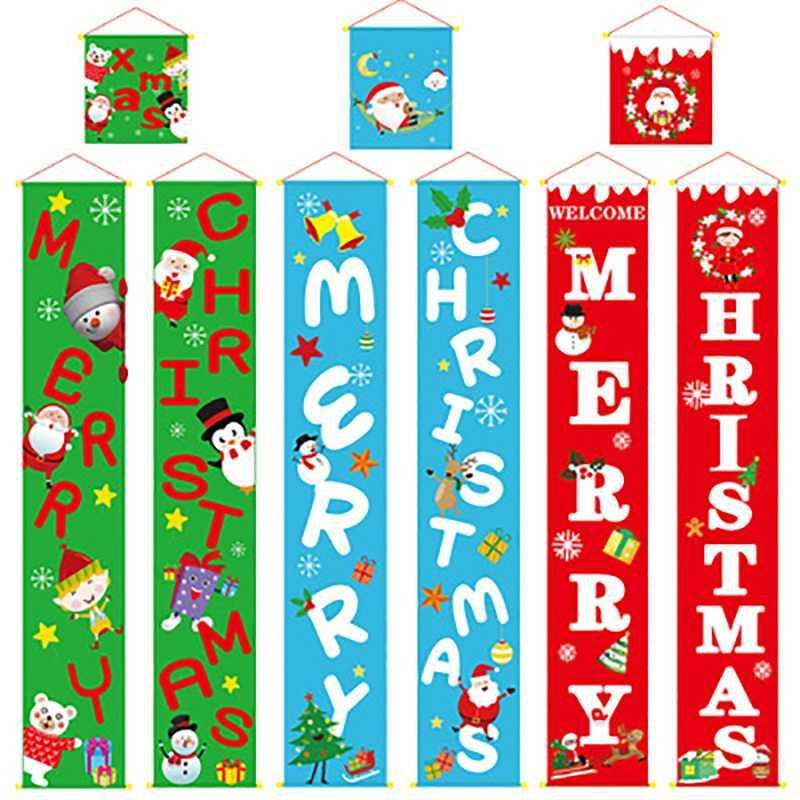 1 Set Weihnachten Banner Wand-Tür-Fenster-hängender Vorhang Couplet Merry Xmas Startseite Verzierung Ornamente