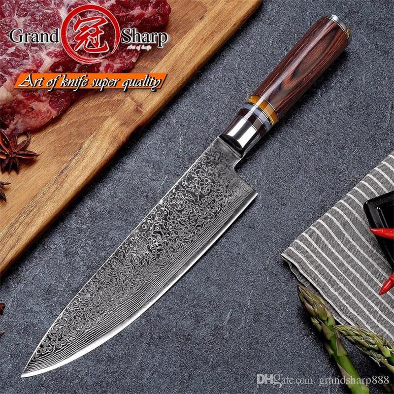 GRANDSHARP 67 Schichten Japanisches Damaskus-Stahl-Damaskus-Kochmesser VG-10 Klinge Damaskus-Küchenmesser Pakka-Griff PRO-Kochmesser