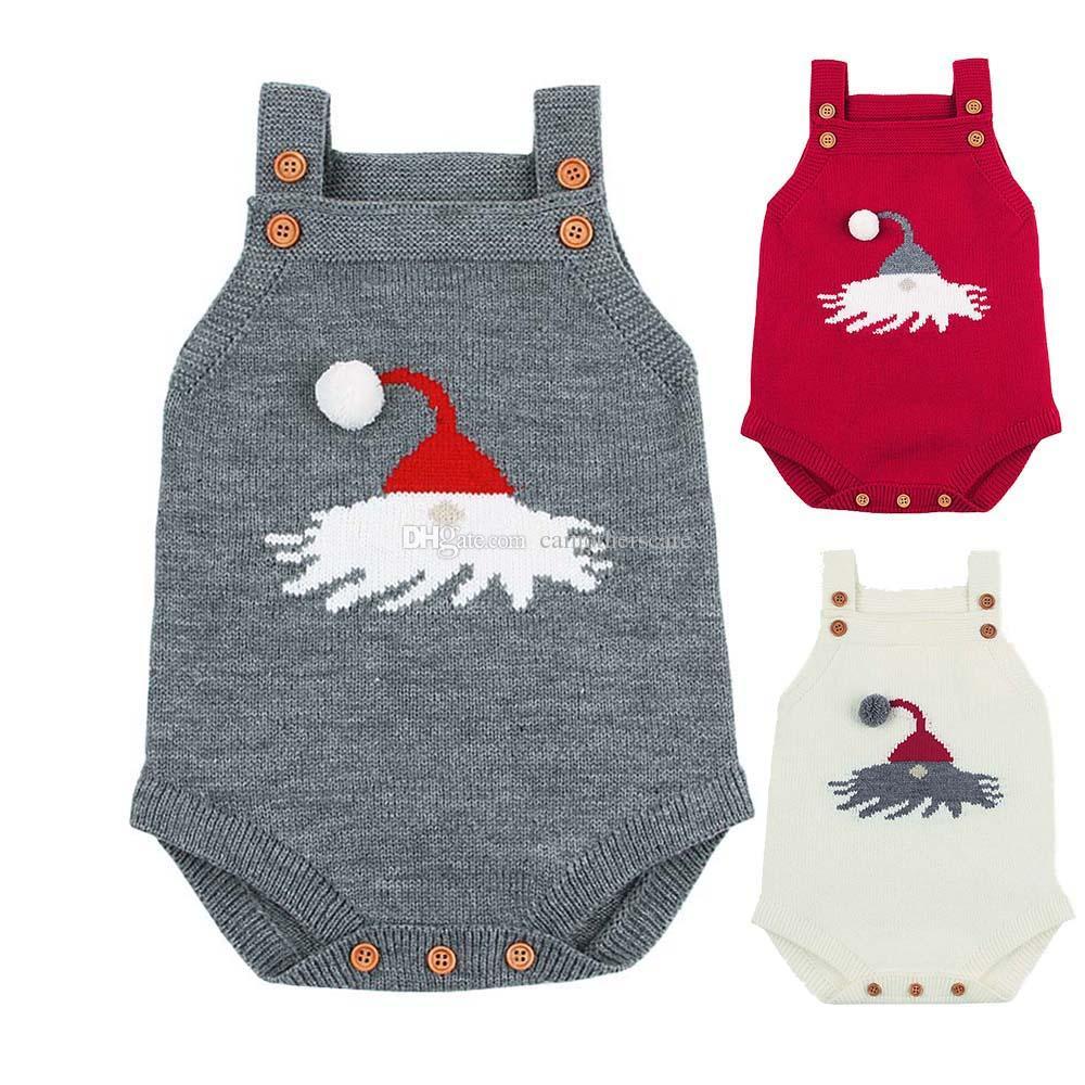 Christmas Knitted Baby Bodysuit Newborn Infant Toddler Hot Summer Body Child Kids for Boys Girls B0021 Body Suit 3 Colors Strap Shoulder