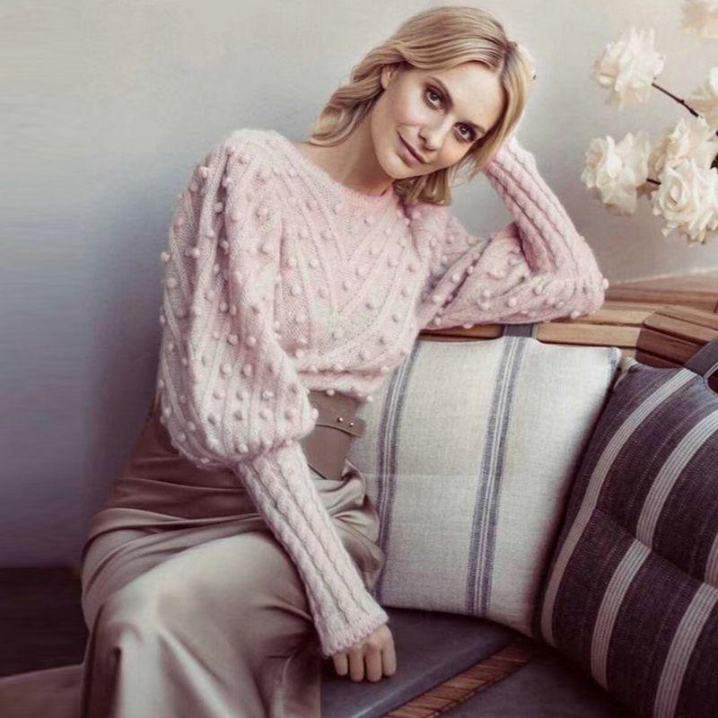 Short Fall Sleeve Tops Fashion-2021 Sweaters Designer Long Women Ladies Knitted Pink Kvehl