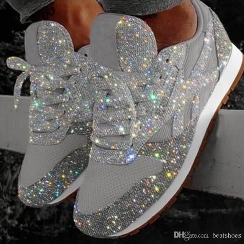 Los últimos zapatos de las mujeres de alta calidad de las zapatillas de deporte de Silver Spring Chic Lentejuelas Zapatos ocasionales de los deportes antideslizante suela de goma Tamaño 35-43