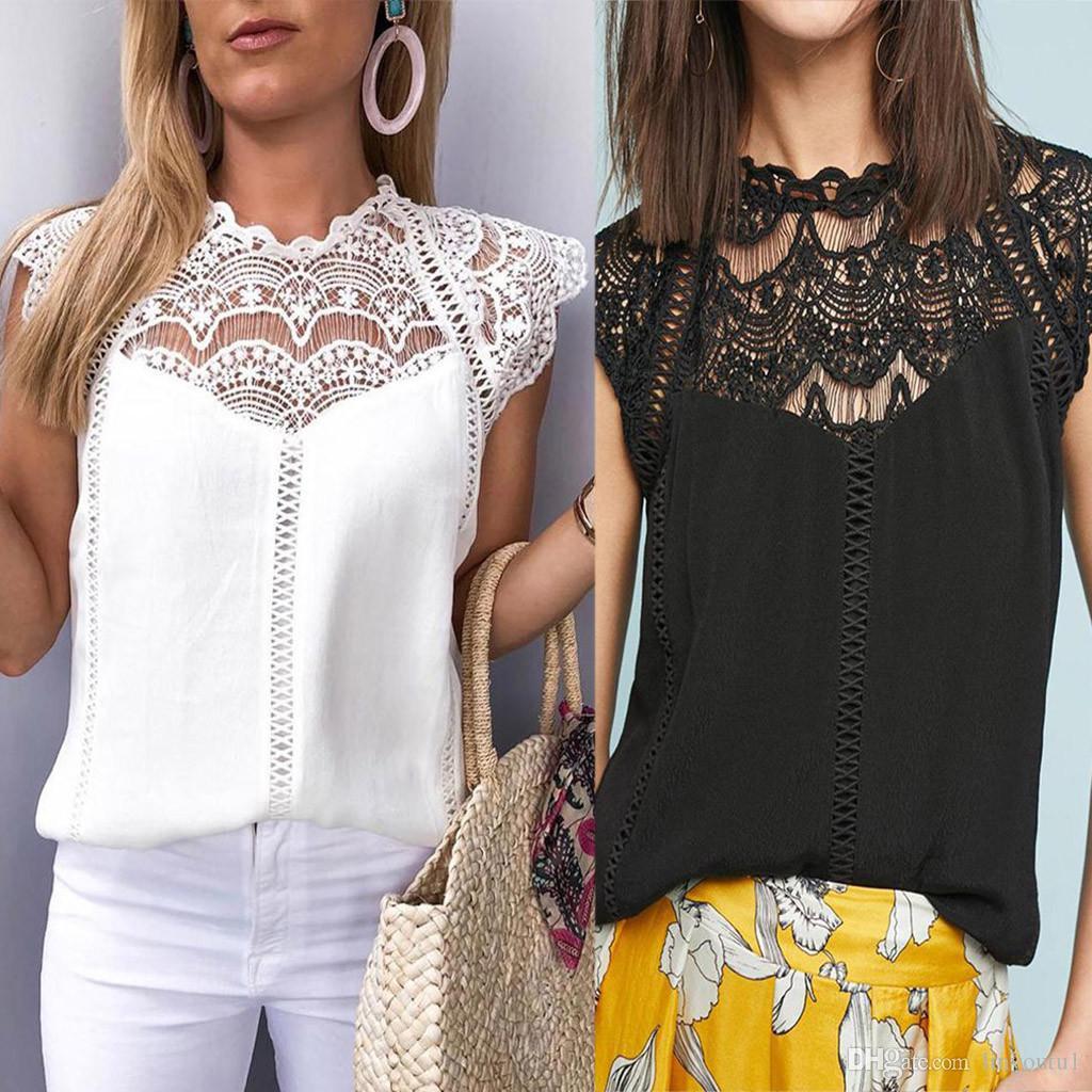 Moda verão 2019 Mulheres Rendas Blusas Senhoras Sólida Causal Sem Mangas Oco Out Blusa Tops Camisa Chiffon