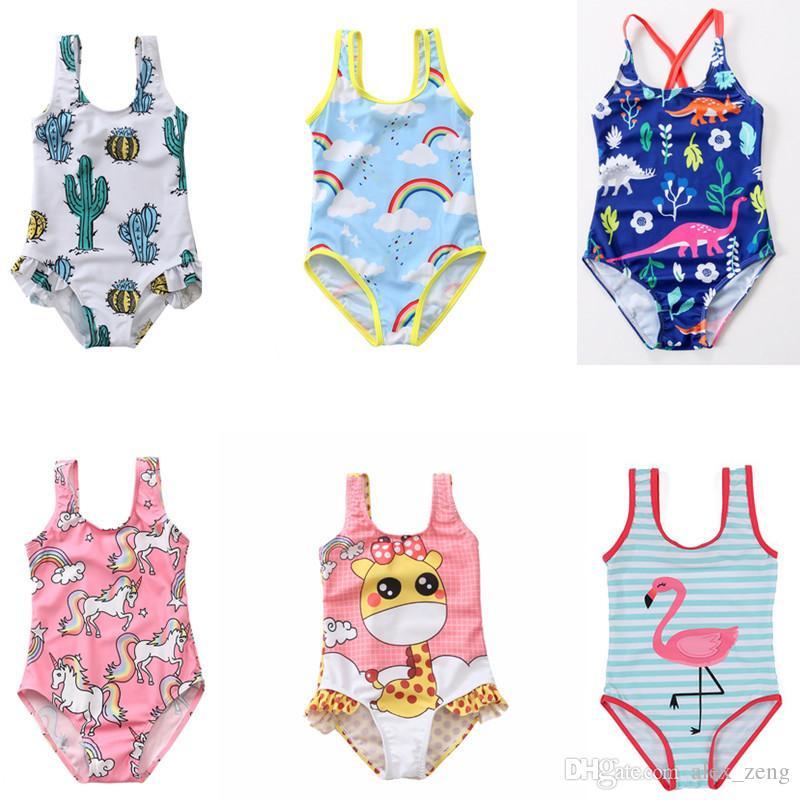 Los bebés de una sola pieza del traje de baño del unicornio del flamenco Cactus verano de los niños traje de baño de hielo crema de piña floral Beach Wear Niños 2-8 años