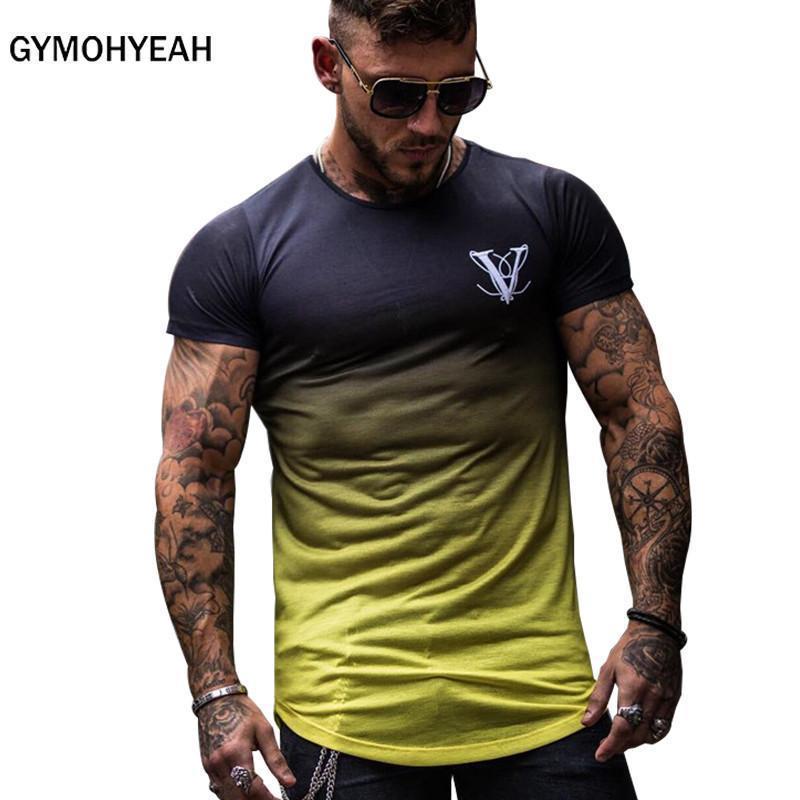 Moda Gradient da cor da forma T Shirt Men rápida compressão t-shirt respirável Mens manga curta de Fitness Mens Fitness Tee top apertado Casual