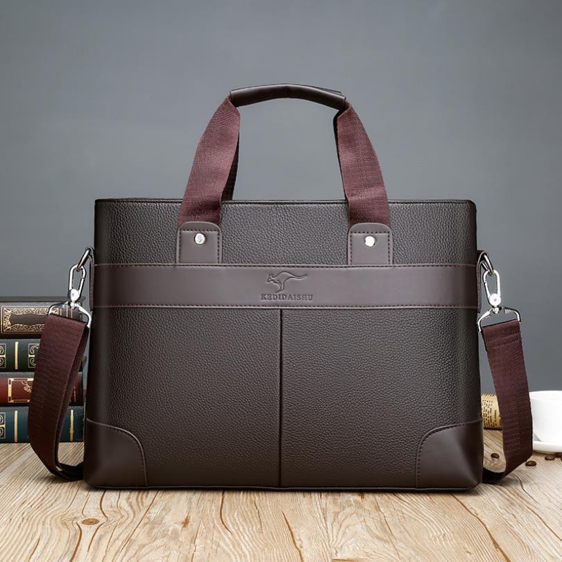 Дизайнер Деловые сумки Casual PU кожи мужские Сумка Vintage Мужская сумка Crossbody Bolsas черный коричневый ноутбук сумка # d9nf