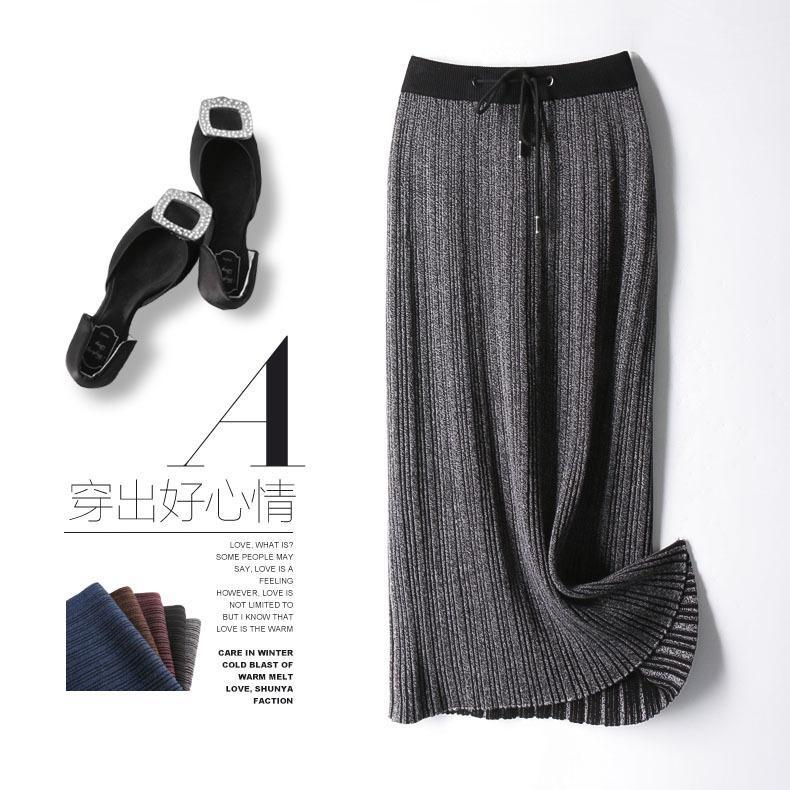 Código vai vestido-de-saia de corpo inteiro Saia plissada saia de mulher tricô Longuette 1803