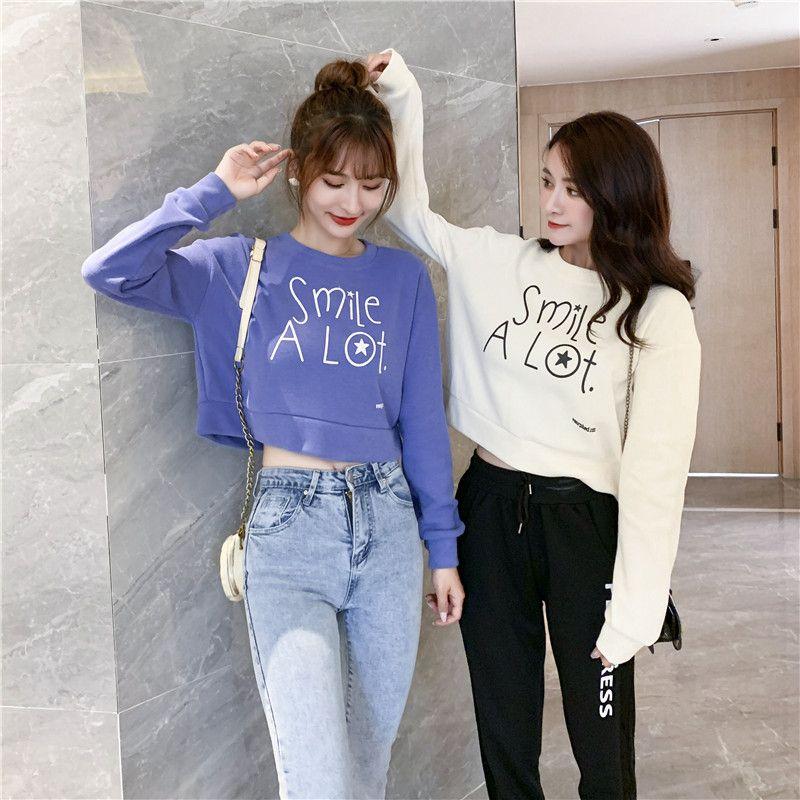 Großhandel Langarm Short Top Frauen Hoodie Frauen Pullover Frauen Sweatshirt 4 Farben Mode B100779Z
