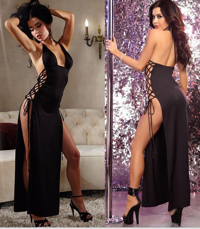 Femmes Lace Up Robe Longue Sexy Club Wear Robe De Soirée Sans Manches Robe D'été SFT882