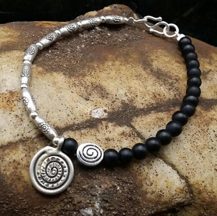 FREE SHIPPING Natural black bracelet, fine pattern bracelet, retro frosted hand string