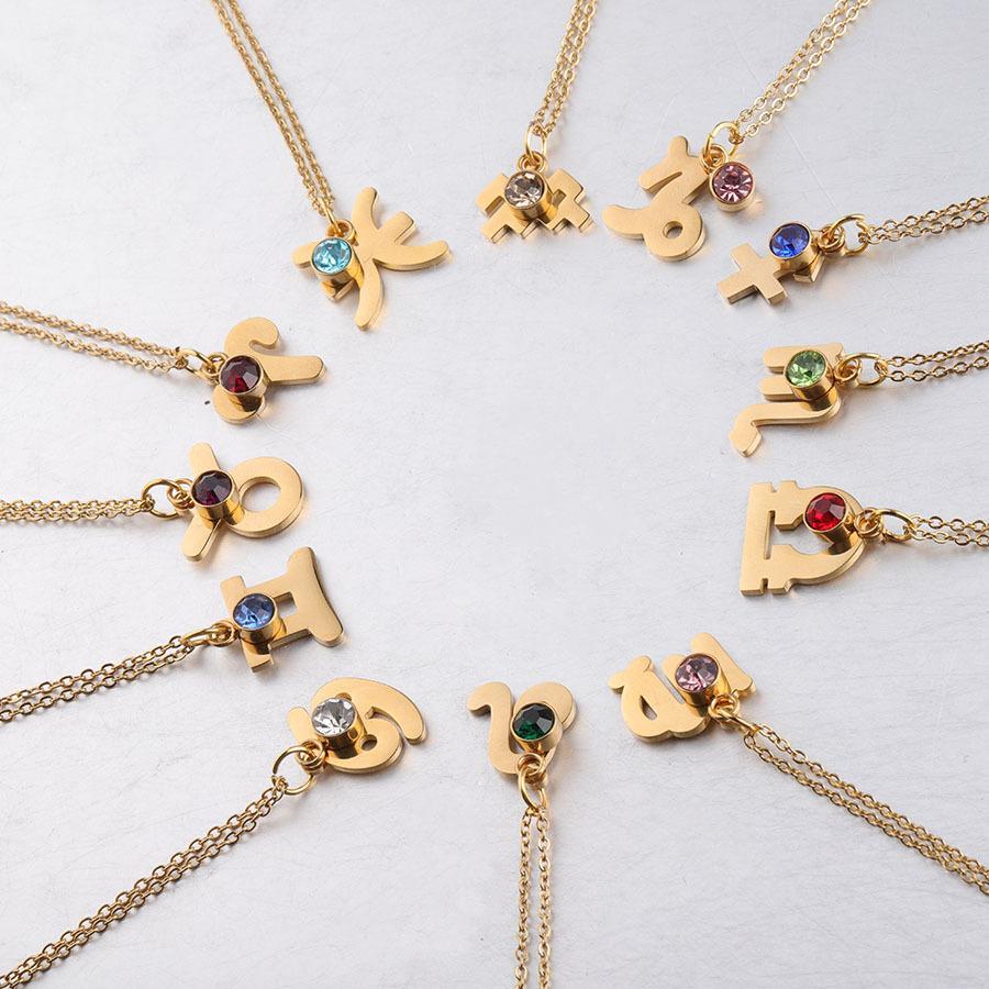 Diseñador de moda collar colgante constelación 12 para el collar de oro de las mujeres de acero inoxidable Lucky Charm piedra del cumpleaños regalo de la joyería