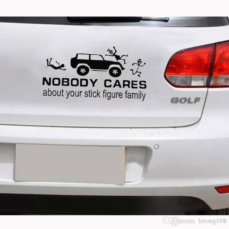 NOBODY CARES ABOUT YOUR STICK FIGURE FAMILY Reflective Car Sticker