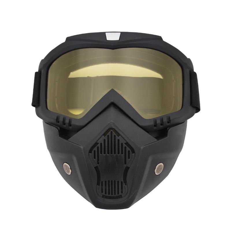 Gece Görüş Kayak Snowboard Gözlük ile Ayrılabilir Maske Rüzgar Geçirmez UV400 Kayak Gözlük Maskesi Kış Sporları Snowmobile Gözlük