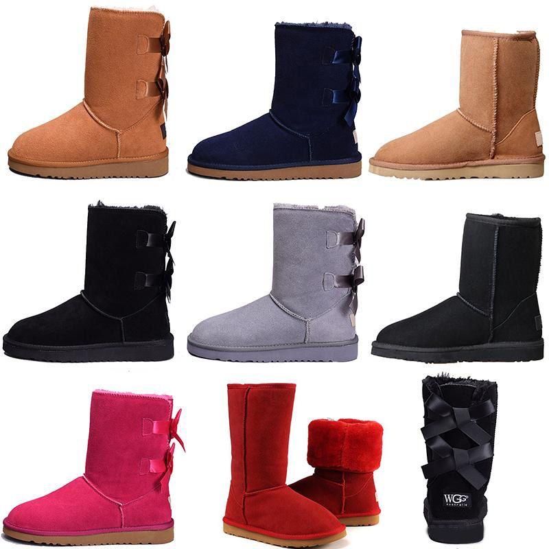 Ugg أحذية النساء أحذية قصيرة مصغرة أستراليا الكلاسيكية الركبة عالية الشتاء أحذية الثلوج مصمم بيلي القوس الكاحل بووتي أسود رمادي كستنائي الأحمر 36-41