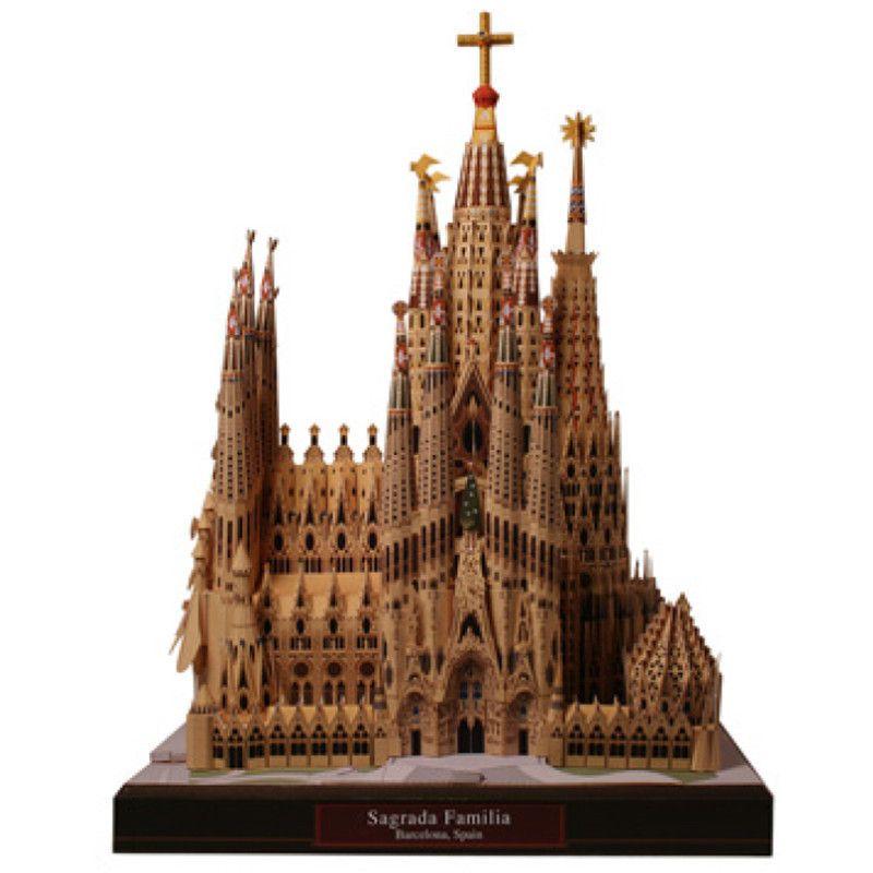Diy sagrada familia, espanha artesanato modelo de papel de arquitetura 3d diy educação toys handmade adulto jogo de puzzle y190530