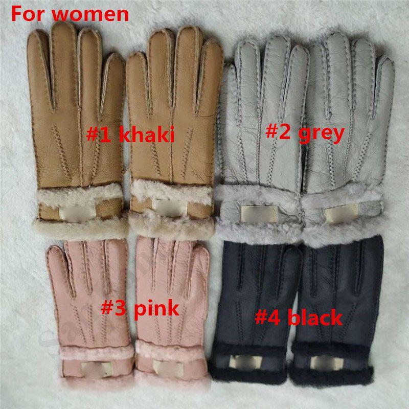 Mens Handmade Winter Genuine Black Sheepskin Leather Shearling Fur Warm Gloves