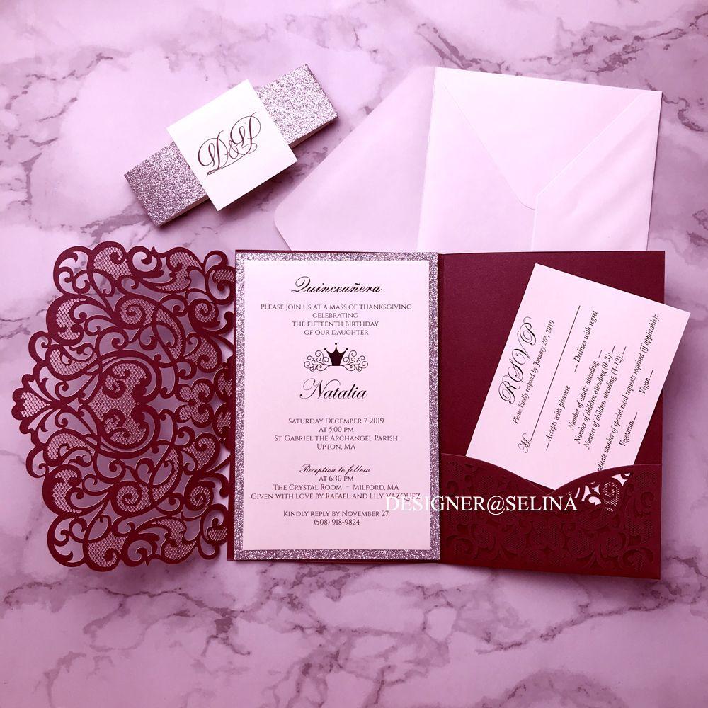 Casamento de Borgonha Convites Silver Glitter Laser Cut convite Cartões Com Belt e Tag para Chá de panela Quinceanera Convidar w cartão de RSVP