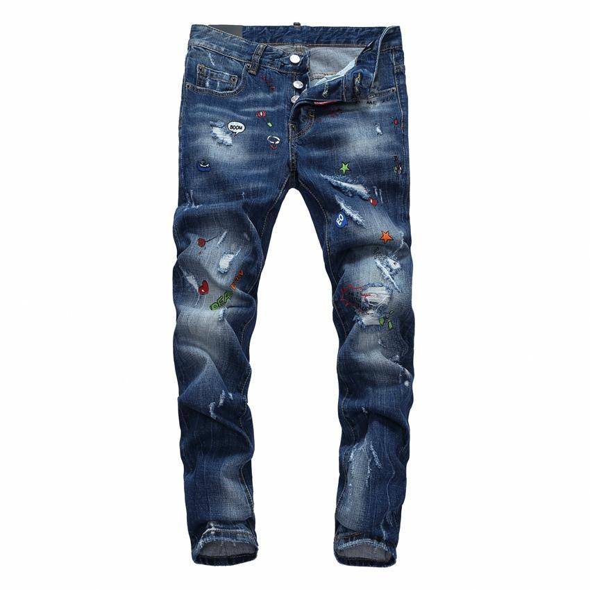 19SS son İtalyan erkekler oyuk yüksek kaliteli kot hip-hop logo tasarımcısı pantolon erkek büyüklüğü 28-38 yeni model DN2