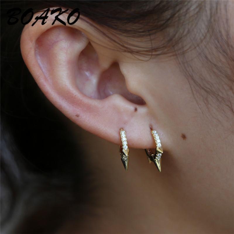 Orecchini del cerchio del cerchio del rivetto per le donne 925 orecchini in argento sterling 925 roccia punk stile gotico huggie orecchini gioielli di moda regalo