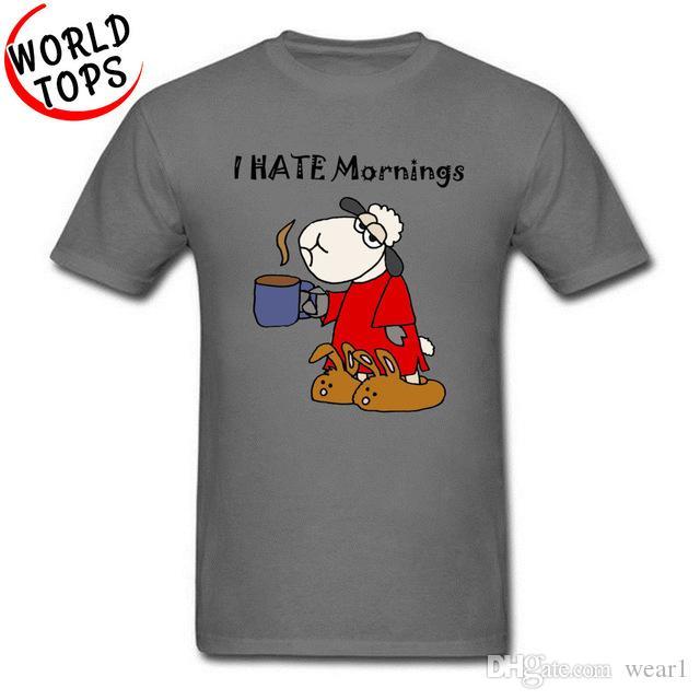 8f821c839 2019 men s designer clothing tshirt Anime Cartoon Tops T Shirt Funny Sleepy  Grumpy Sheep Hates Mornings New Style Fashion Cotton T-Shirt Boy