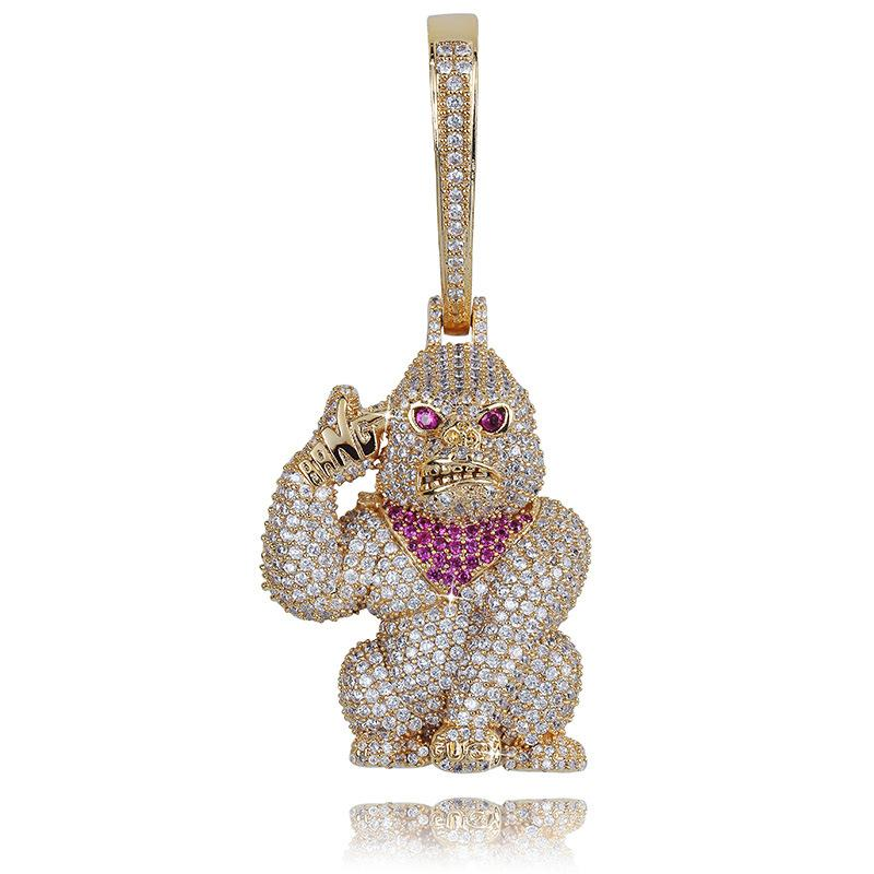 Top Quality 18K Real Gold Plated Full Diamond Iced Out Gorilla Chain Necklace Personalized CZ Cubic Zirconia Jewelry Gifts for Men for Sale