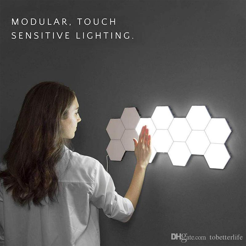NEW 16PCS Touch Sensitive Wall Light Hexagonal Quantum Lamp Modular LED Night Light Hexagons Creative Decoration Lamp for Home