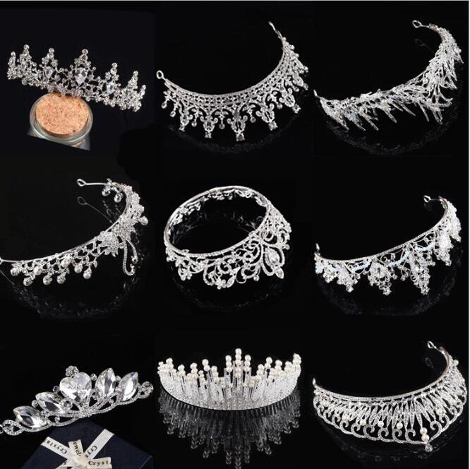 Luxury Free Shipping Rhinestone Crystal Wedding Party Prom Homecoming Crowns Band Princess Bridal Tiaras Hair Accessories Fashion