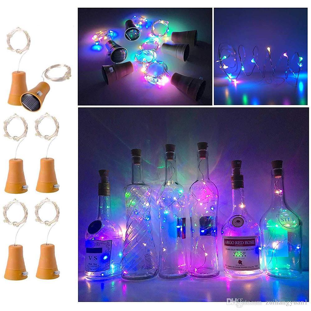 20 LED 2 M Solar Powered Bottiglia di vino Luce Solare Luci Leggiadramente Cork Luce di Natale LED Ghirlanda di rame Filo Fata Luci Della Stringa