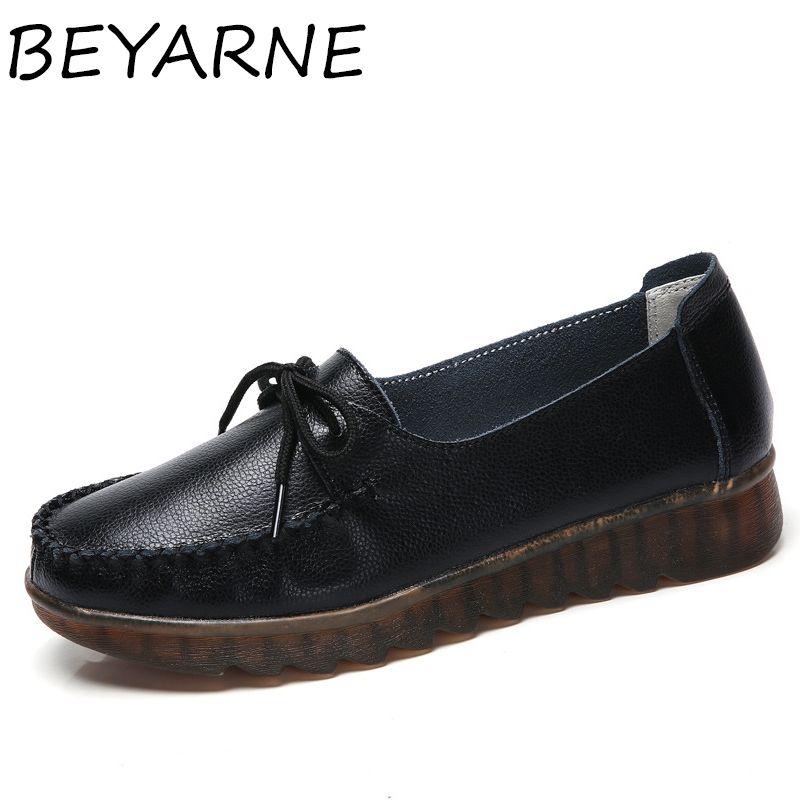 BEYARNE printemps automne cuir véritable chaussures femme blanche avec des lacets chaussures plates en cuir de mode pour les femmes fond mou plat