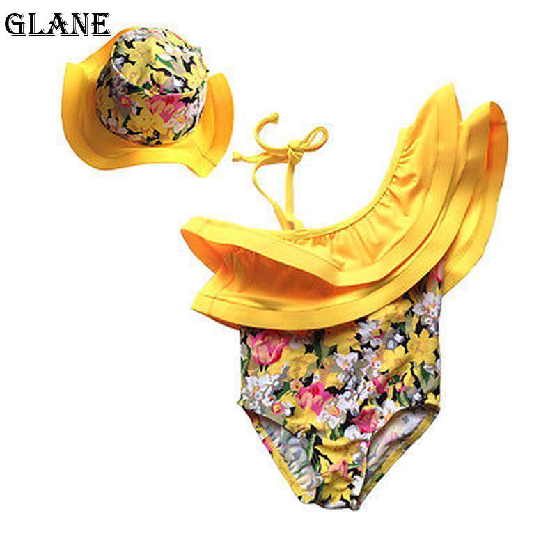 2019 nueva llegada al bebé recién nacido ropa de la muchacha de flor del mono del mameluco del mono del sombrero 2pcs Trajes bikini Set