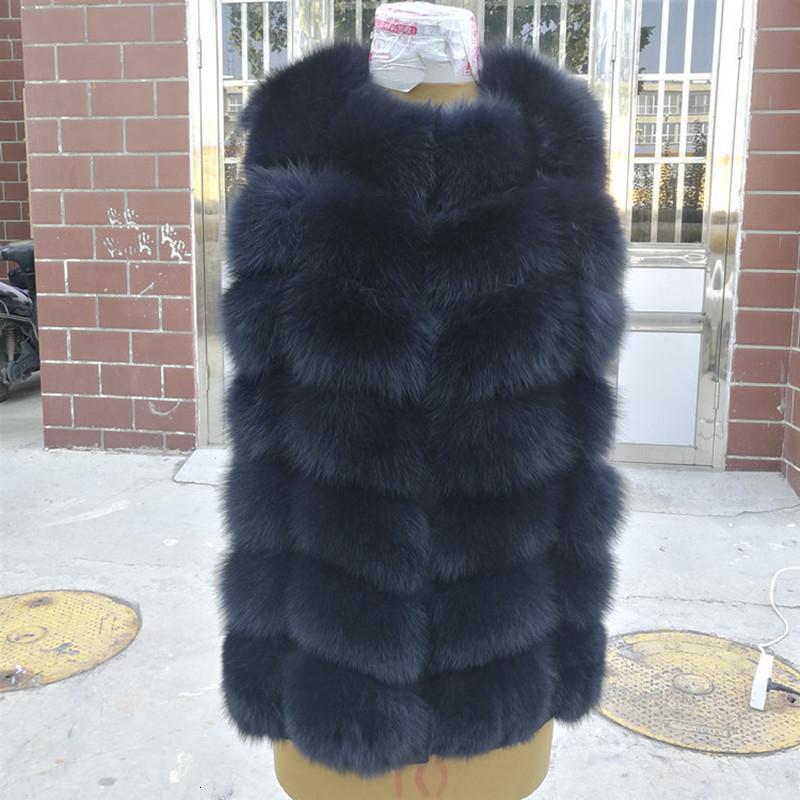 Natürliche wirkliche Fox-Pelz-Weste-Jacke Weste Gilet Short ärmel Winter-starker warmer Luxus echte Mäntel plus Größe T191114