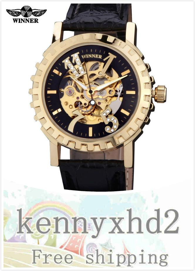 043 men's fashion casual gear dial automatic mechanical watch Leather Watch