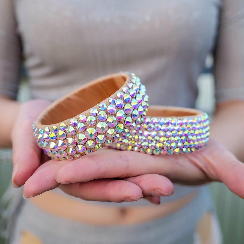 Dancer Belly Dance Jewelry Armband Dance Performance Colorful Crystal Bracelet Bangle 2pcs/set