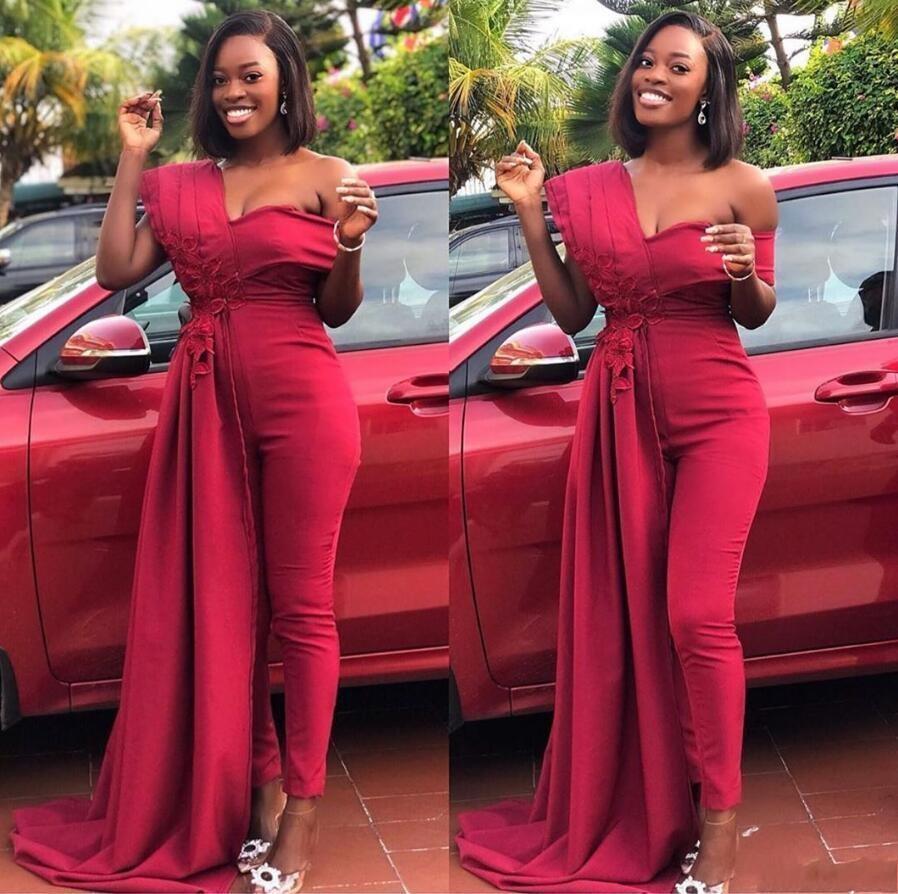 2020 Модест Длинные Комбинезон Женщины партии вечера вечерние платья с аппликацией Новый стиль плеча выпускного Pant Suit