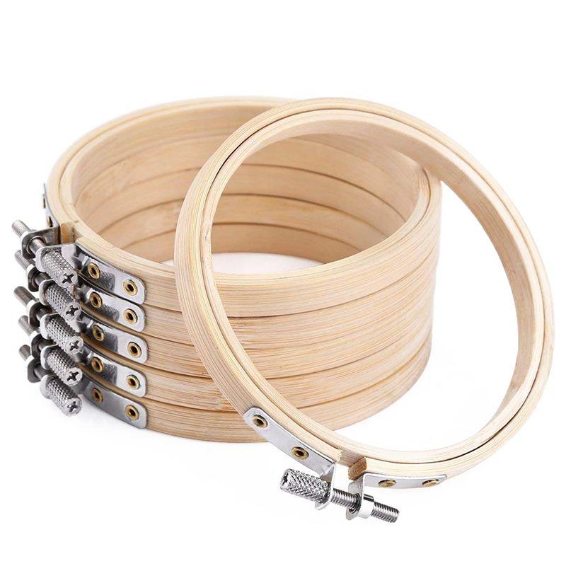 6 Pieces 4 polegadas redonda de madeira massa Bordado Hoops Atacado Bambu Círculo Ponto Cruz Hoop Anel
