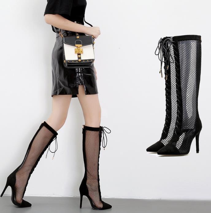 Siyah dışarı oyuk dantel yukarı örgü diz yüksek çizmeler seksi yüksek topuklu 11cm Boyut 35 To 40