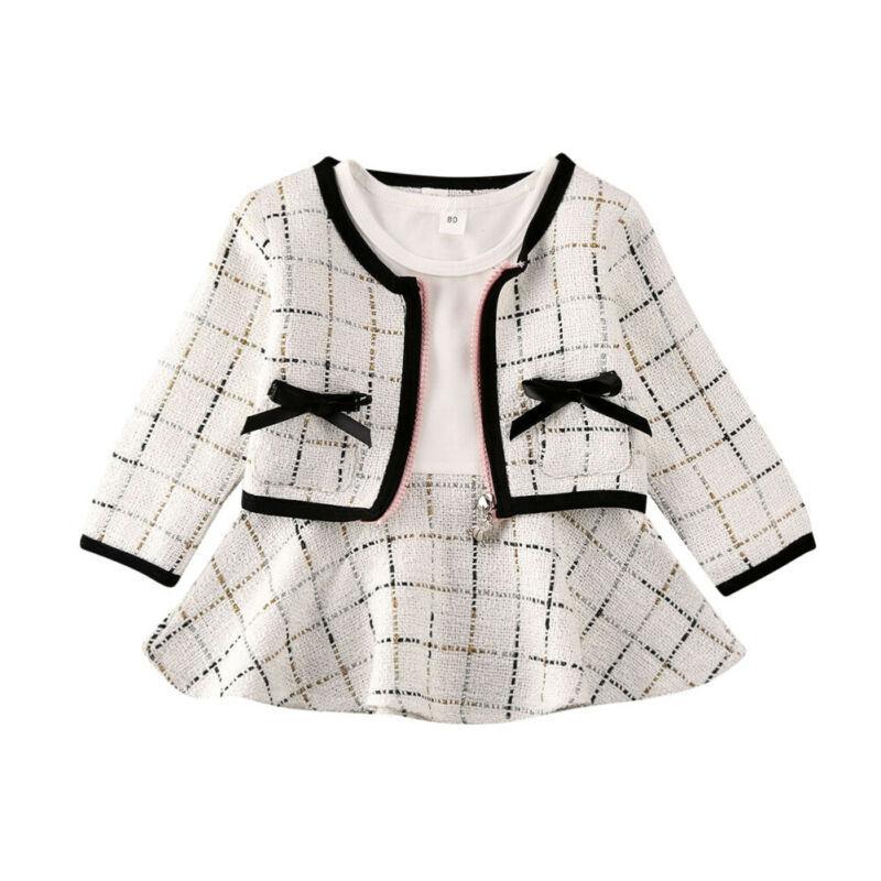 2PCS Kid princesa del bebé arropa sistemas Coat + concurso de tela escocesa larga de la fiesta de cumpleaños Una línea de ropa de la manga de baile