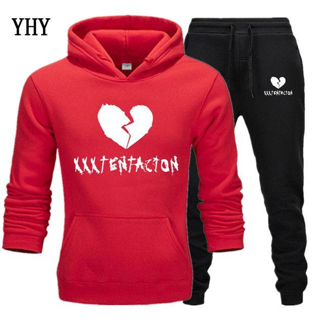 New XXXTentacion Sweatshirts+Sweatpants Suits Mens Fashion Clothing Fleece Hooded Pullover Hip hop Hoodies Sweatshirt XXXL EL-12