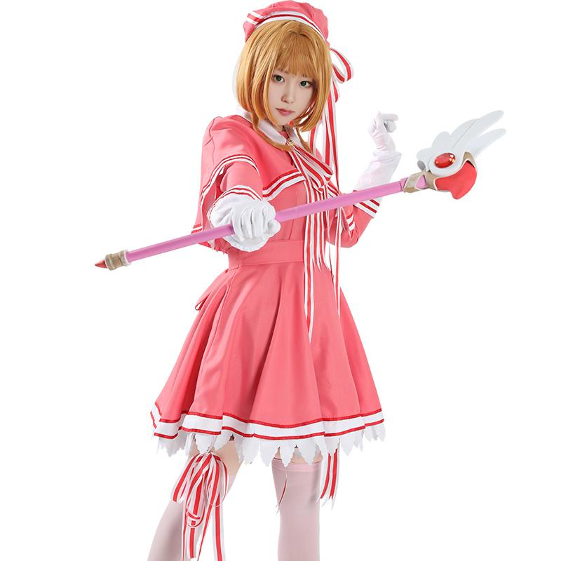Halloween Japon Anime Sakura Card Captor rose cosplay costume robe cape uniforme Costume complet Set (Taille asiatique)
