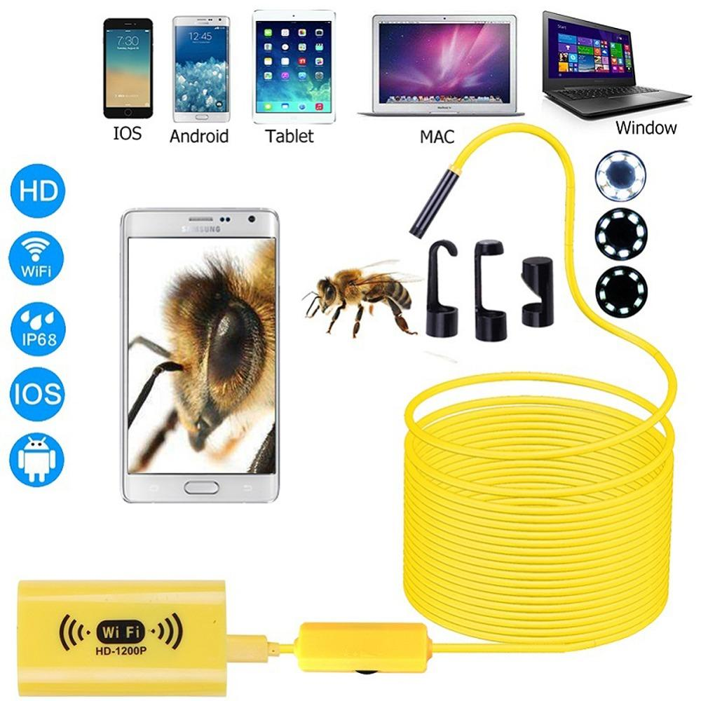 WiFi Endoscope Camera HD 1200P Waterproof mini Inspection camera 8mm 8LED soft Hard Cable Semi Rigid Tube wireless Endoscopy Yellow black